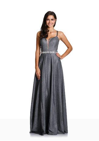 Glitzerabendkleid mit Paillettenbesetztem Taillenband in Glitter Grey