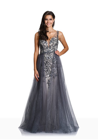 Paillettenbesticktes Abendkleid in Glitter Grey