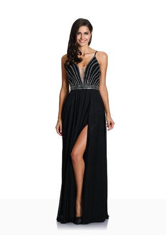 Vestido de noche con Rückenschnürung en Negro Brillante