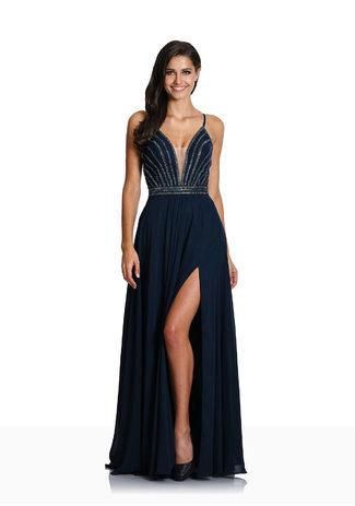 Vestido de noche con Rückenschnürung en Twilight Blue
