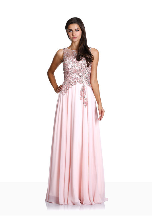 Noble evening dress made of chiffon in pearl pink