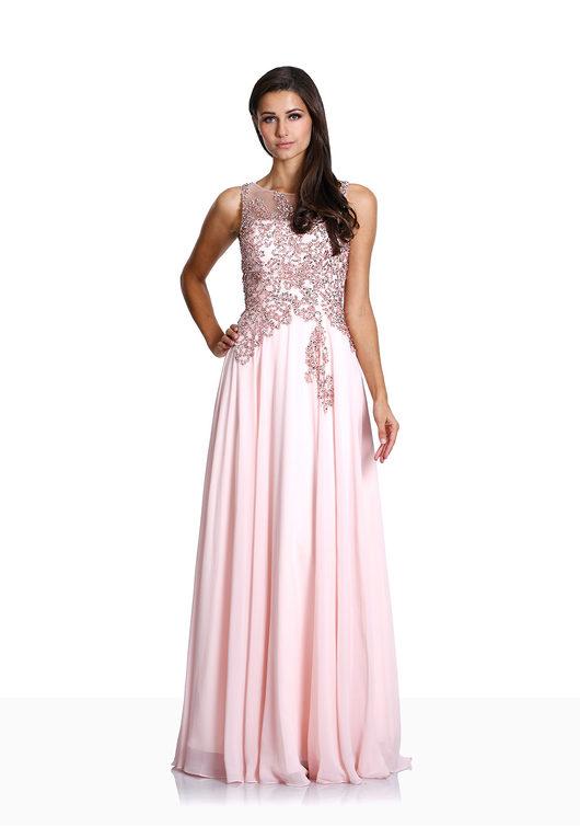 Robe de soirée noble en mousseline de soie rose perle