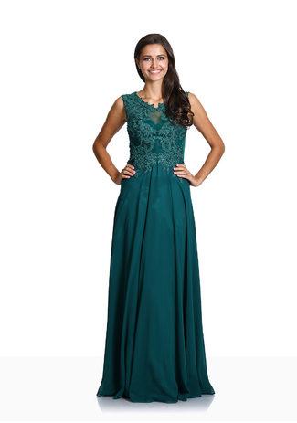 Besticktes Chiffon Abendkleid in Posy Green
