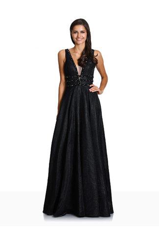 Glitzerabendkleid mit Strassdekor in Glitter Black