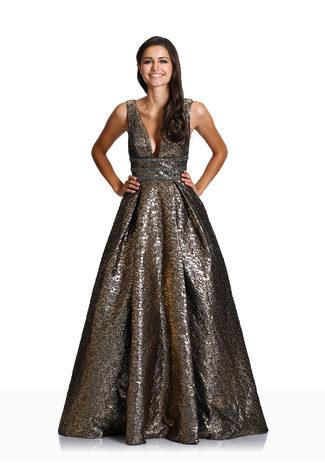 Abendkleid mit ausgestelltem Rock in Shining Gold