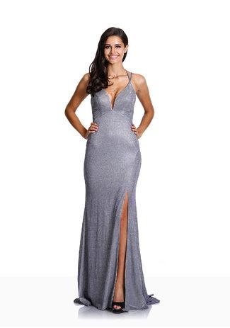 Bodenlanges Glitzerabendkleid in Glitter Grey & Lilac