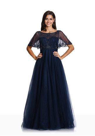 Abendkleid mit kurzen Ärmeln in Twilight Blue