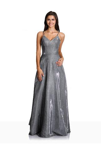 Glitzerabendkleid mit ausgestelltem Rock in Glitter Grey