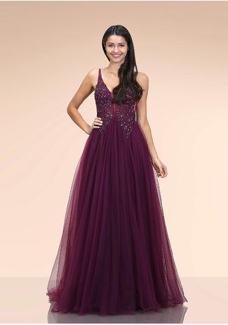 Ausgestelltes Tüll Abendkleid in Royal Purple