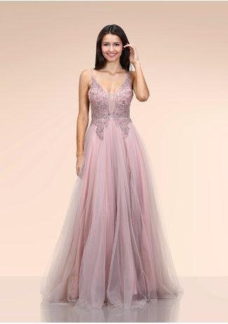 Ausgestelltes Tüll Abendkleid in Dawn Pink