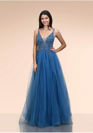 Ausgestelltes Tüll Abendkleid in Ice Blue