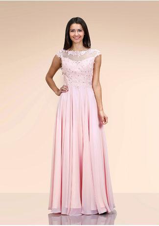Chiffonabendkleid mit Spitzendekor in Pearl Pink