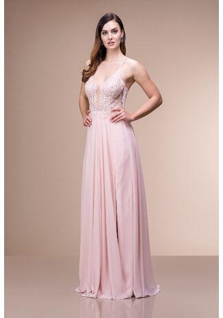 Abendkleid mit Stickereiverzierungen in Pearl Pink