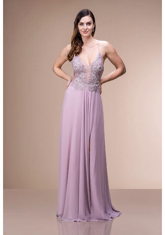 Abendkleid mit Stickereiverzierungen in Lavender Snow
